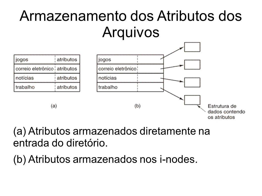 Armazenamento dos Atributos dos Arquivos (a) Atributos armazenados diretamente na entrada do diretório. (b) Atributos armazenados nos i-nodes.