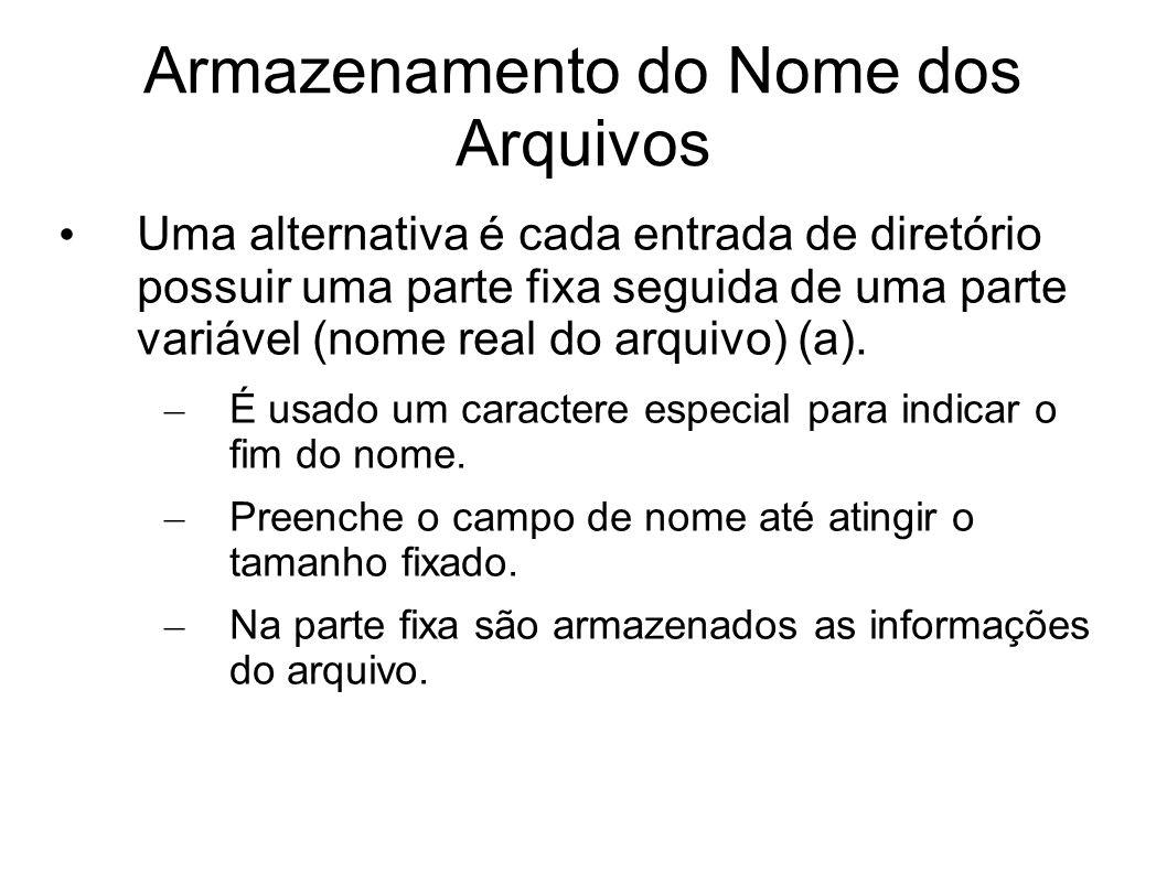 Armazenamento do Nome dos Arquivos Uma alternativa é cada entrada de diretório possuir uma parte fixa seguida de uma parte variável (nome real do arqu