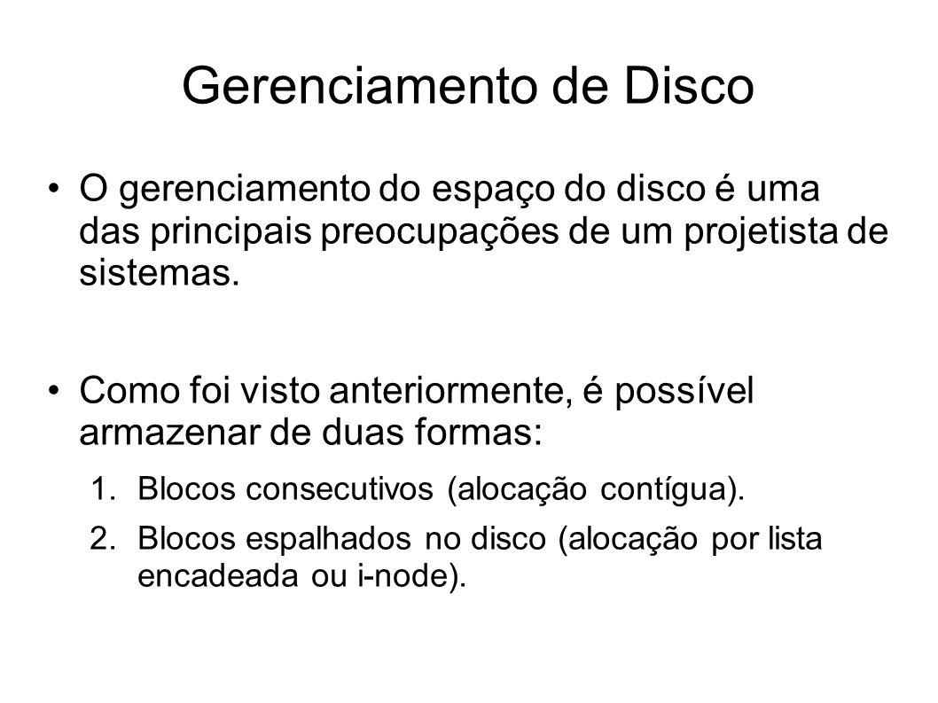 Gerenciamento de Disco O gerenciamento do espaço do disco é uma das principais preocupações de um projetista de sistemas. Como foi visto anteriormente