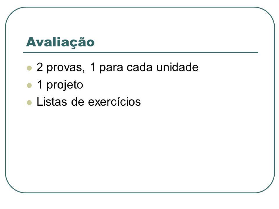 Avaliação 2 provas, 1 para cada unidade 1 projeto Listas de exercícios
