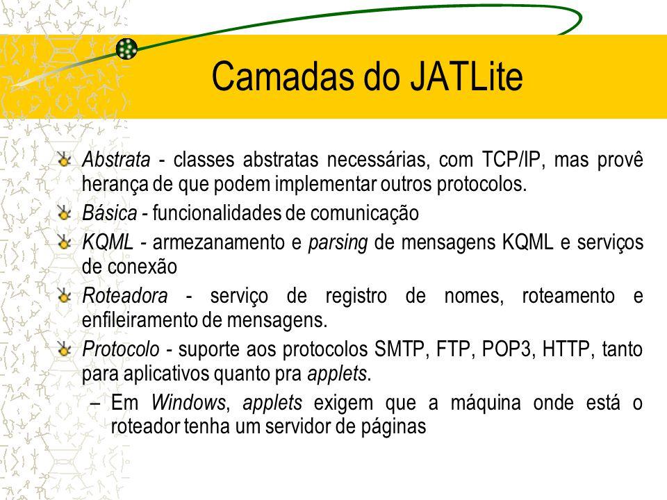 O Pacote JATLite para KQML Java Agent Template Lite – Classes para a construção de agentes, facilitadores e roteadores –java.stanford.edu Parser KQML, mas aceita outra linguagem Protocolos TCP/IP, HTTP, FTP ou outros Agentes com resposta direta ou fila de mensagens
