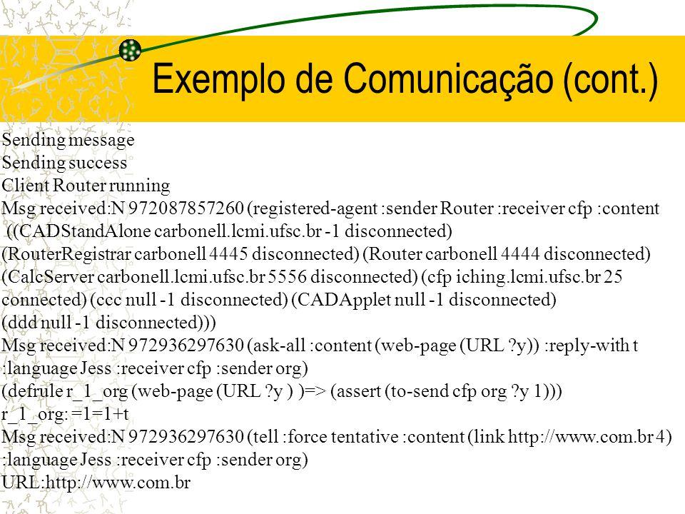 Exemplo de Comunicação C:\Agent\Code> jview Agent.Code.MASTERWebAgent Initialization Success Jess> cfp_r_56_big-title: =1=1=1=1=1=1=1=2+2+t TRUE... Je