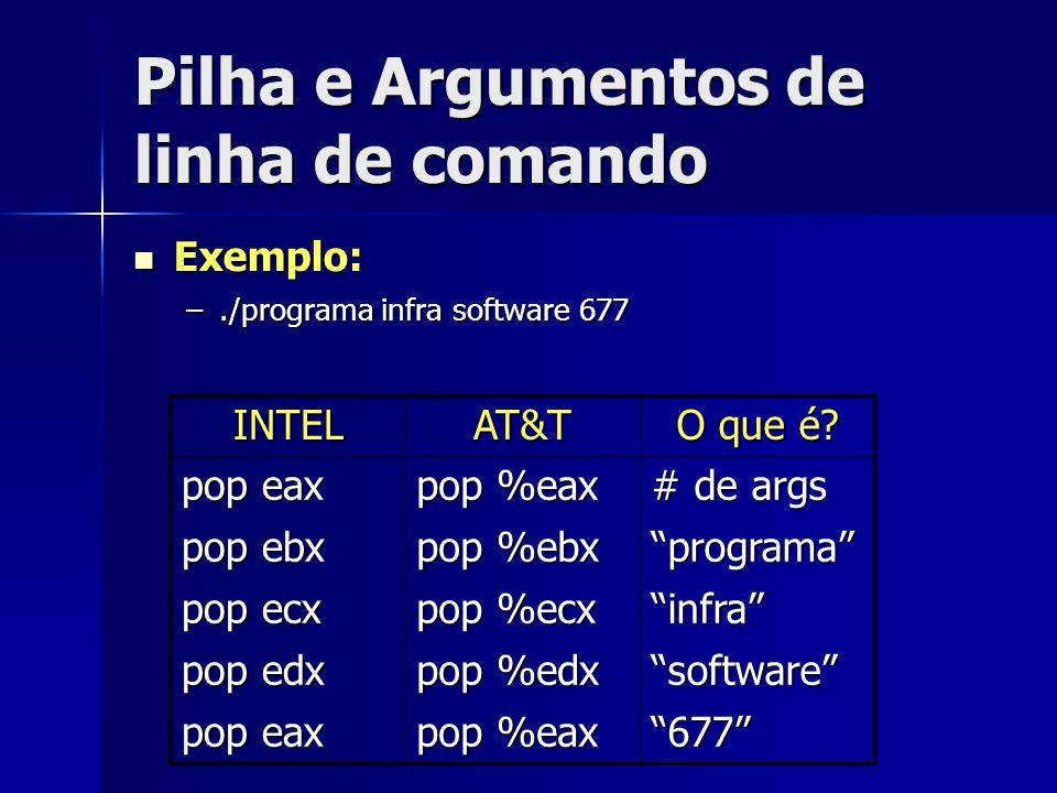 Pilha e Argumentos de linha de comando Exemplo: Exemplo: –./programa infra software 677 INTELAT&T O que é.