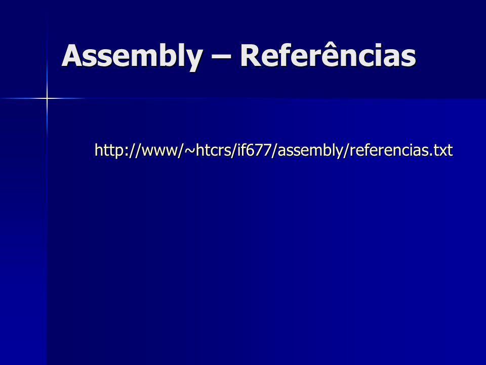 Assembly – Referências http://www/~htcrs/if677/assembly/referencias.txt