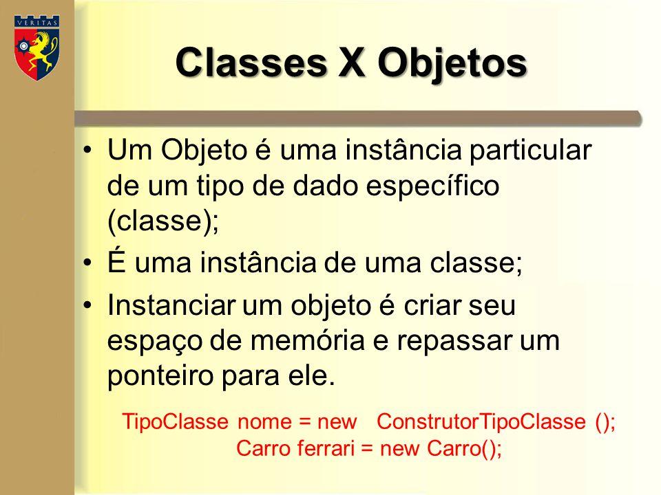 Um Objeto é uma instância particular de um tipo de dado específico (classe); É uma instância de uma classe; Instanciar um objeto é criar seu espaço de