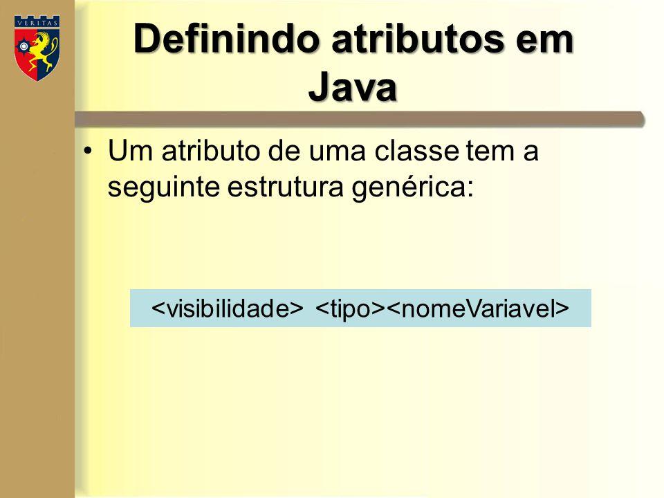 Definindo atributos em Java Um atributo de uma classe tem a seguinte estrutura genérica: