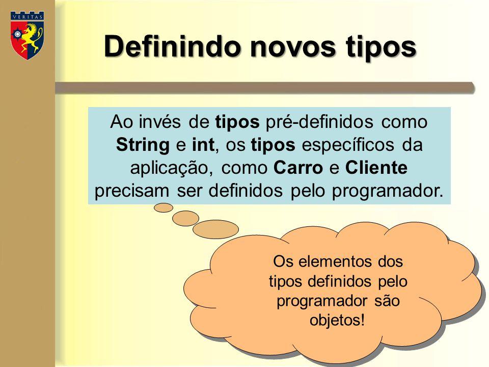 Definindo novos tipos Ao invés de tipos pré-definidos como String e int, os tipos específicos da aplicação, como Carro e Cliente precisam ser definido