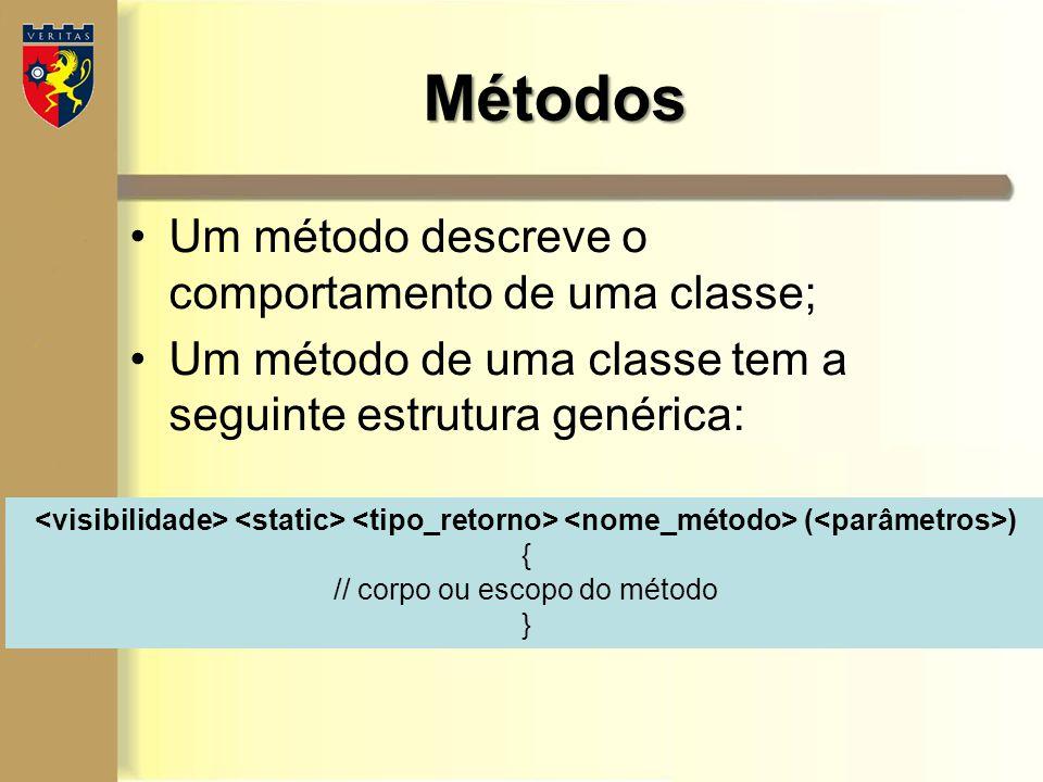 Métodos Um método descreve o comportamento de uma classe; Um método de uma classe tem a seguinte estrutura genérica: ( ) { // corpo ou escopo do métod