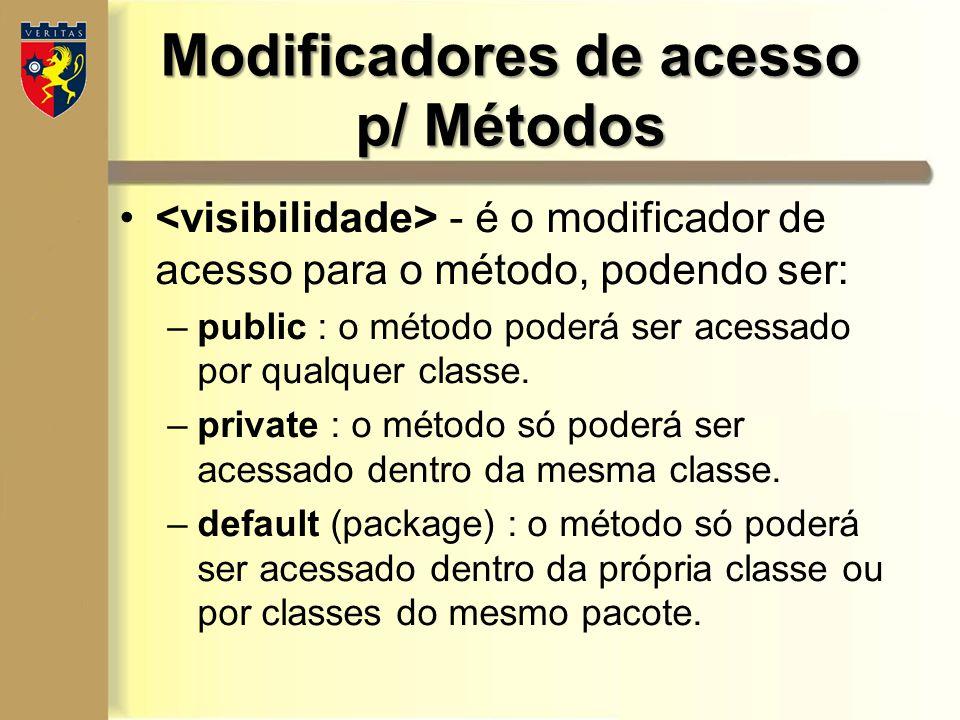 Modificadores de acesso p/ Métodos - é o modificador de acesso para o método, podendo ser: –public : o método poderá ser acessado por qualquer classe.