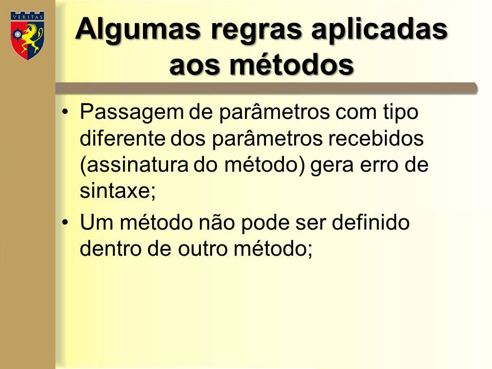 Algumas regras aplicadas aos métodos Passagem de parâmetros com tipo diferente dos parâmetros recebidos (assinatura do método) gera erro de sintaxe; U