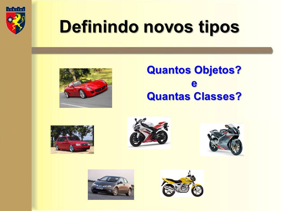 Definindo novos tipos class Carro { CorpoDaClasse } class Moto{ CorpoDaClasse } Dois novos Tipos (Objetos do mundo real especificados na linguagem Java -> Classes).
