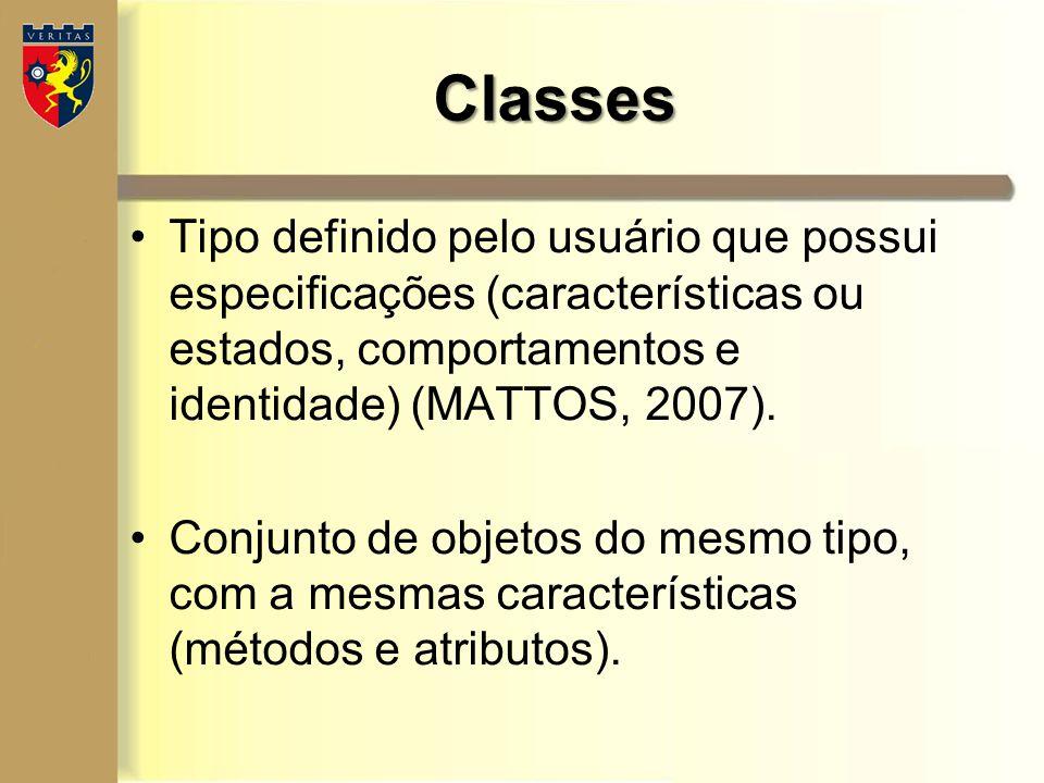 Tipo definido pelo usuário que possui especificações (características ou estados, comportamentos e identidade) (MATTOS, 2007). Conjunto de objetos do