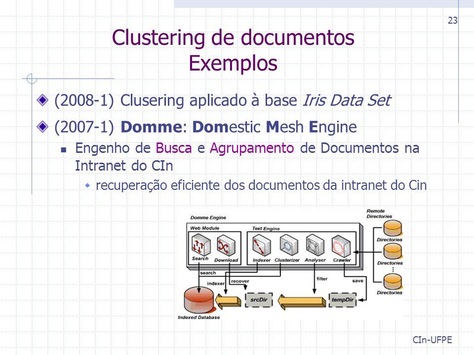 CIn-UFPE 23 Clustering de documentos Exemplos (2008-1) Clusering aplicado à base Iris Data Set (2007-1) Domme: Domestic Mesh Engine Engenho de Busca e