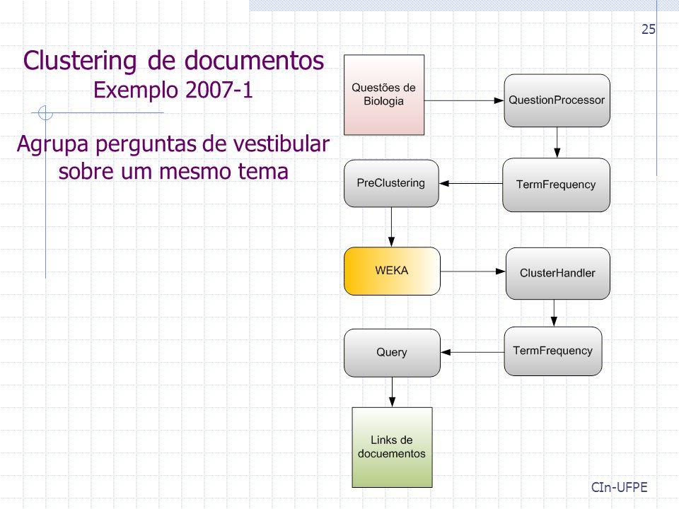 CIn-UFPE 25 Clustering de documentos Exemplo 2007-1 Agrupa perguntas de vestibular sobre um mesmo tema