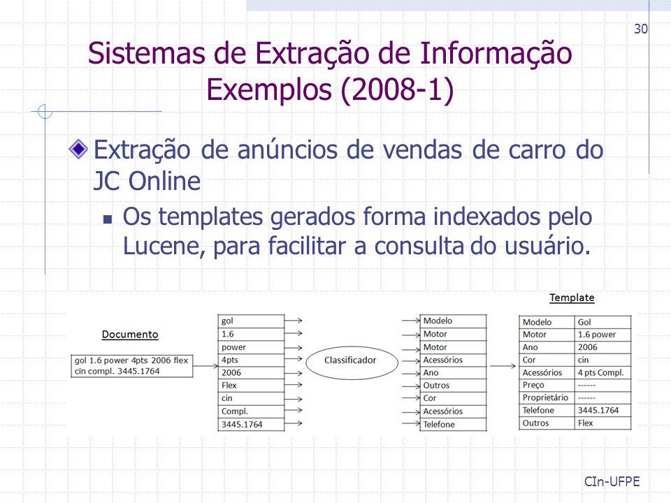 CIn-UFPE 30 Sistemas de Extração de Informação Exemplos (2008-1) Extração de anúncios de vendas de carro do JC Online Os templates gerados forma index