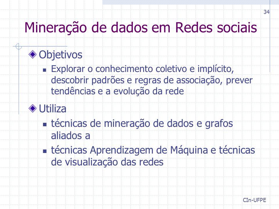 CIn-UFPE 34 Mineração de dados em Redes sociais Objetivos Explorar o conhecimento coletivo e implícito, descobrir padrões e regras de associação, prev