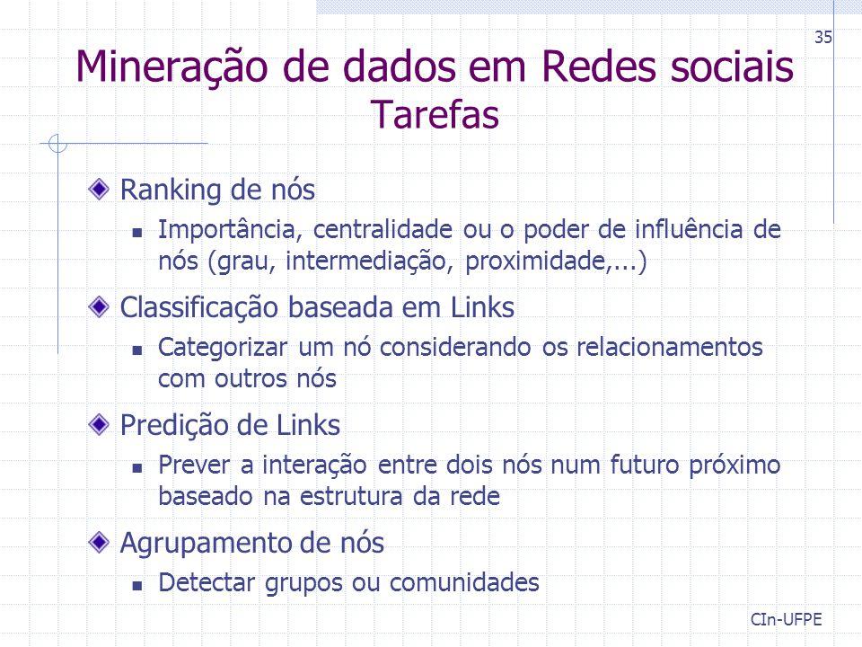 CIn-UFPE 35 Mineração de dados em Redes sociais Tarefas Ranking de nós Importância, centralidade ou o poder de influência de nós (grau, intermediação,