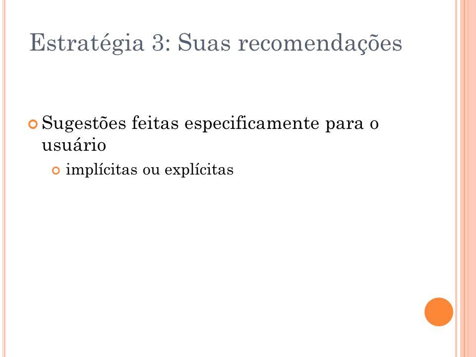 Estratégia 3: Suas recomendações Sugestões feitas especificamente para o usuário implícitas ou explícitas