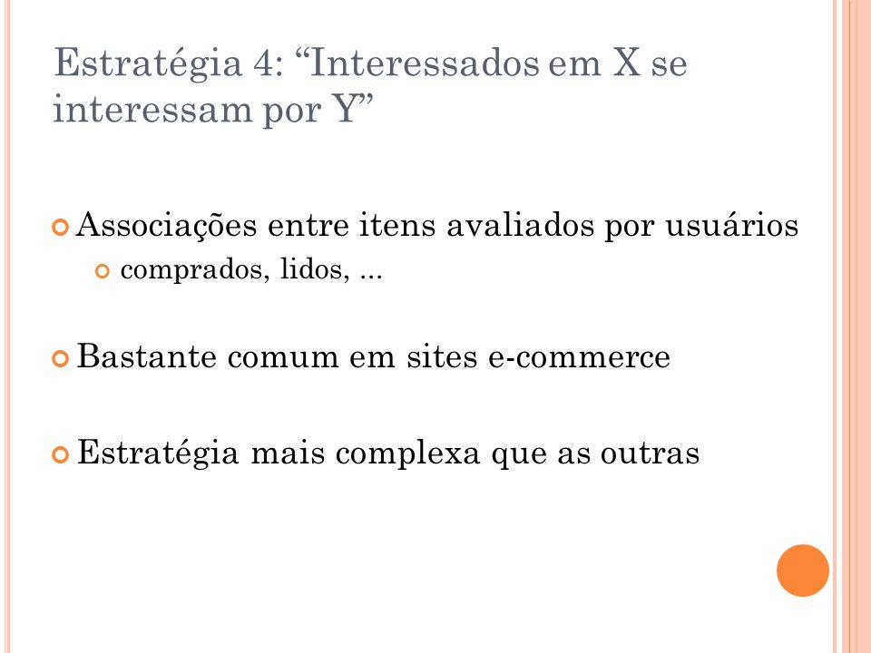 """Estratégia 4: """"Interessados em X se interessam por Y"""" Associações entre itens avaliados por usuários comprados, lidos,... Bastante comum em sites e-co"""