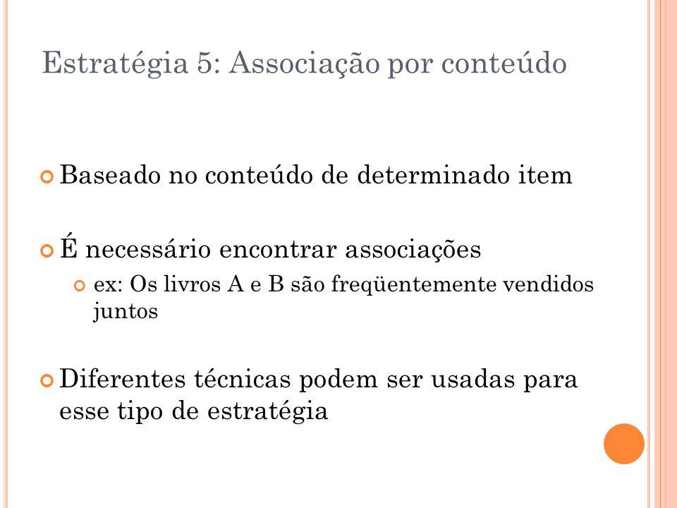 Estratégia 5: Associação por conteúdo Baseado no conteúdo de determinado item É necessário encontrar associações ex: Os livros A e B são freqüentement