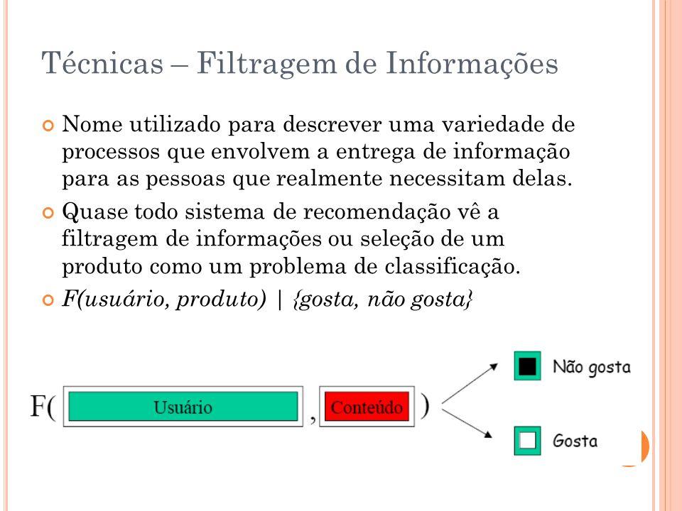 Técnicas – Filtragem de Informações Nome utilizado para descrever uma variedade de processos que envolvem a entrega de informação para as pessoas que