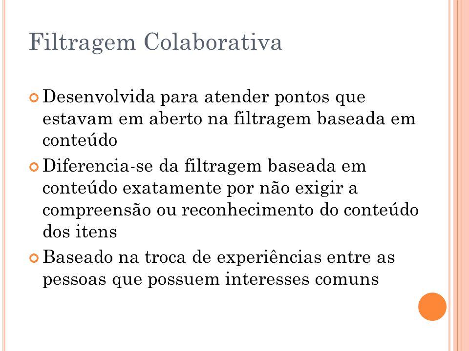 Filtragem Colaborativa Desenvolvida para atender pontos que estavam em aberto na filtragem baseada em conteúdo Diferencia-se da filtragem baseada em c