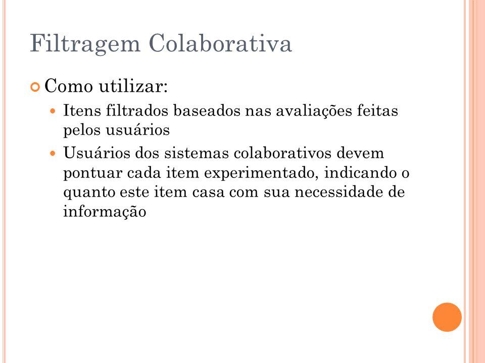 Filtragem Colaborativa Como utilizar: Itens filtrados baseados nas avaliações feitas pelos usuários Usuários dos sistemas colaborativos devem pontuar