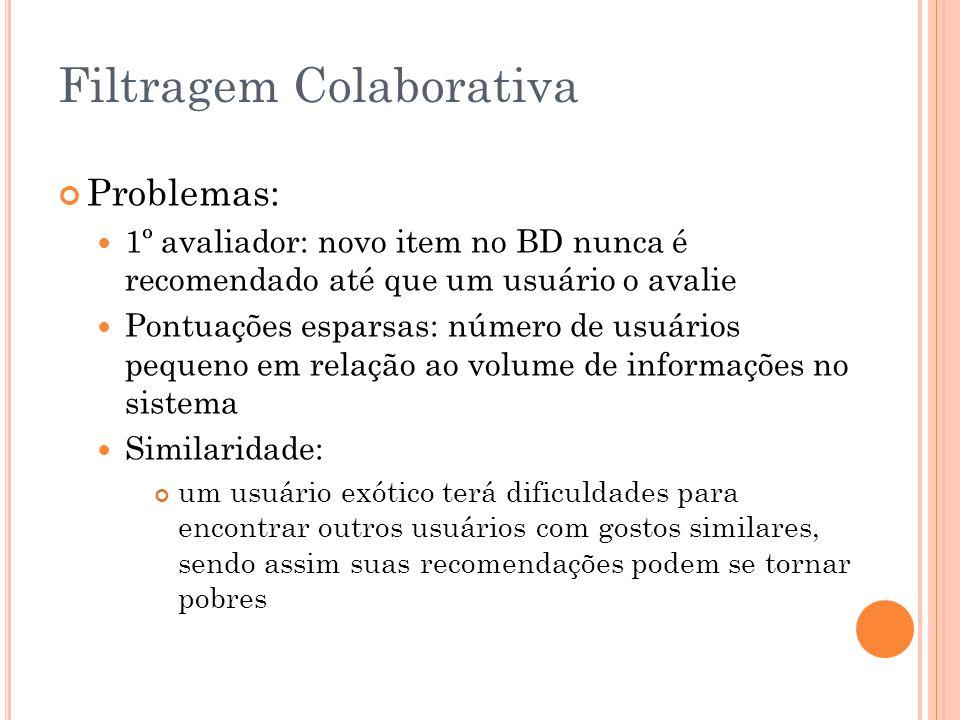 Filtragem Colaborativa Problemas: 1º avaliador: novo item no BD nunca é recomendado até que um usuário o avalie Pontuações esparsas: número de usuário