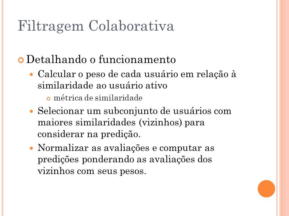 Filtragem Colaborativa Detalhando o funcionamento Calcular o peso de cada usuário em relação à similaridade ao usuário ativo métrica de similaridade S