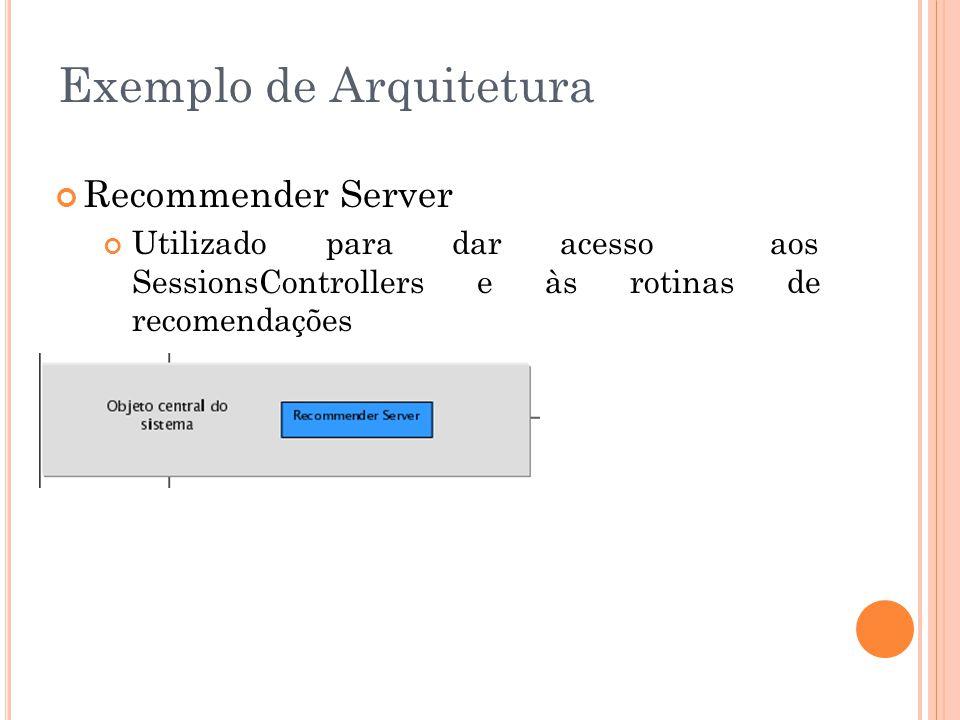 Recommender Server Utilizado para dar acesso aos SessionsControllers e às rotinas de recomendações