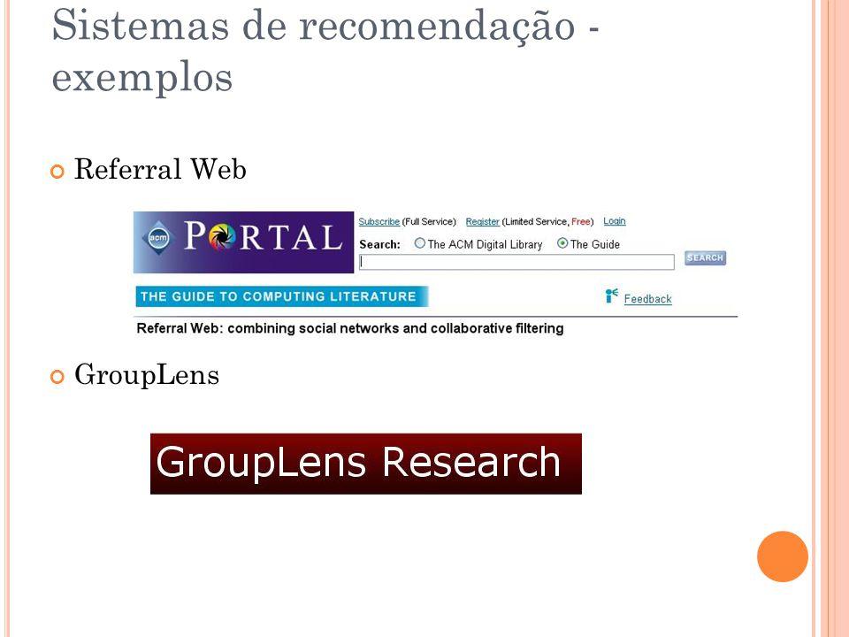 Sistemas de recomendação - exemplos Referral Web GroupLens