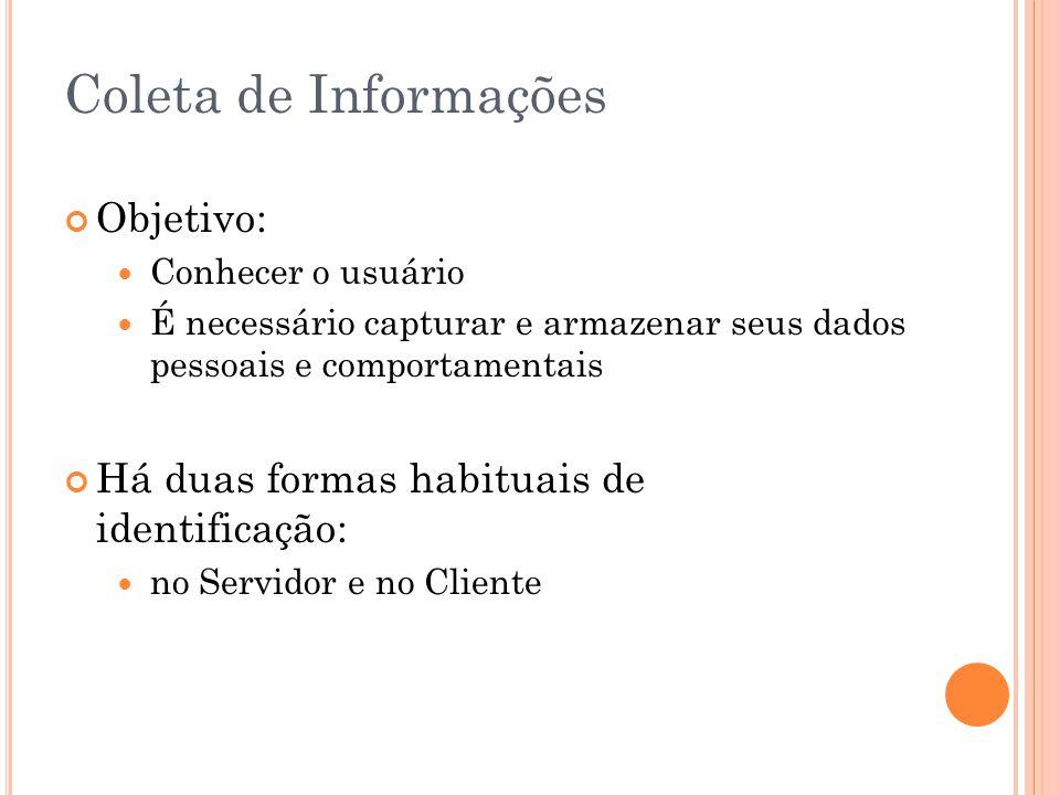 Coleta de Informações Objetivo: Conhecer o usuário É necessário capturar e armazenar seus dados pessoais e comportamentais Há duas formas habituais de