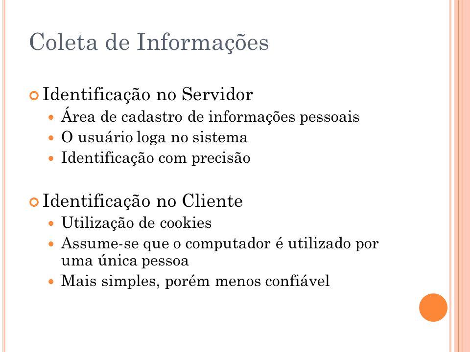 Coleta de Informações Identificação no Servidor Área de cadastro de informações pessoais O usuário loga no sistema Identificação com precisão Identifi
