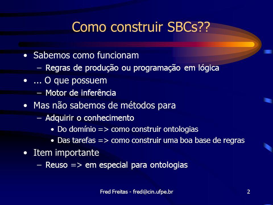 Fred Freitas - fred@cin.ufpe.br43 Codifique a instância específica Portas: Tipo(X1) = XOR Tipo(X2) = XOR Tipo(A1) = AND Tipo(A2) = AND Tipo(O1) = OR Conexões: Conectado(Out(1,X1),In(1,X2)) Conectado(Out(1,X1),In(2,A2)) Conectado(Out(1,A2),In(1,O1))...