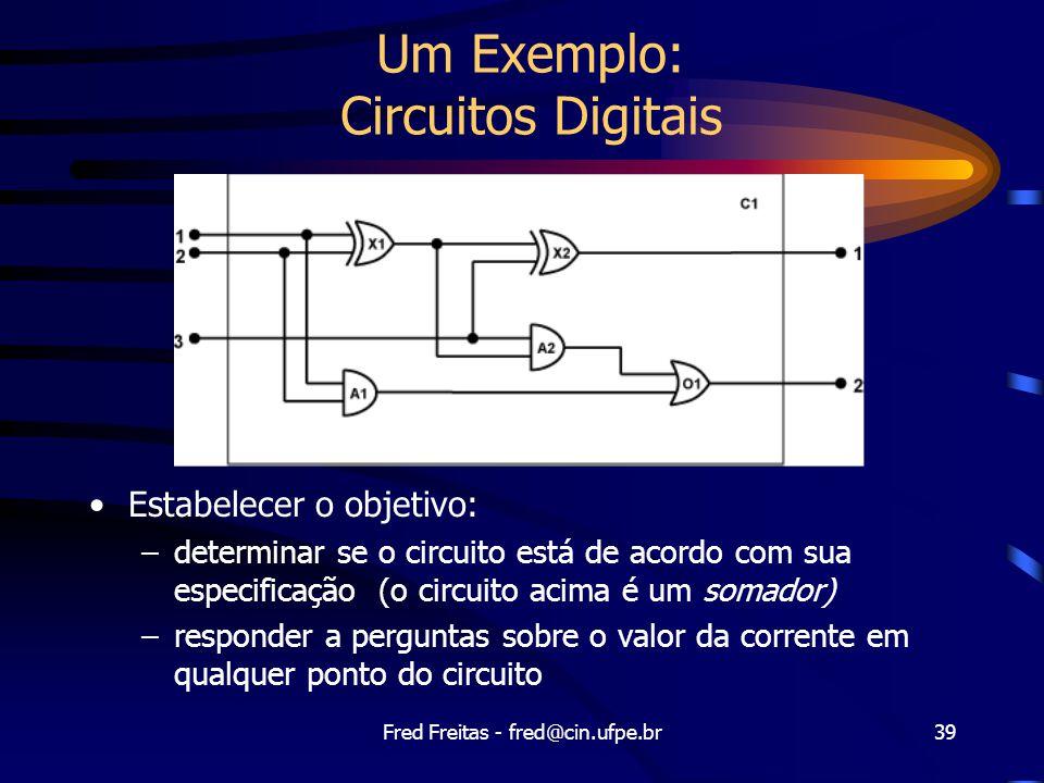 Fred Freitas - fred@cin.ufpe.br39 Um Exemplo: Circuitos Digitais Estabelecer o objetivo: –determinar se o circuito está de acordo com sua especificação (o circuito acima é um somador) –responder a perguntas sobre o valor da corrente em qualquer ponto do circuito