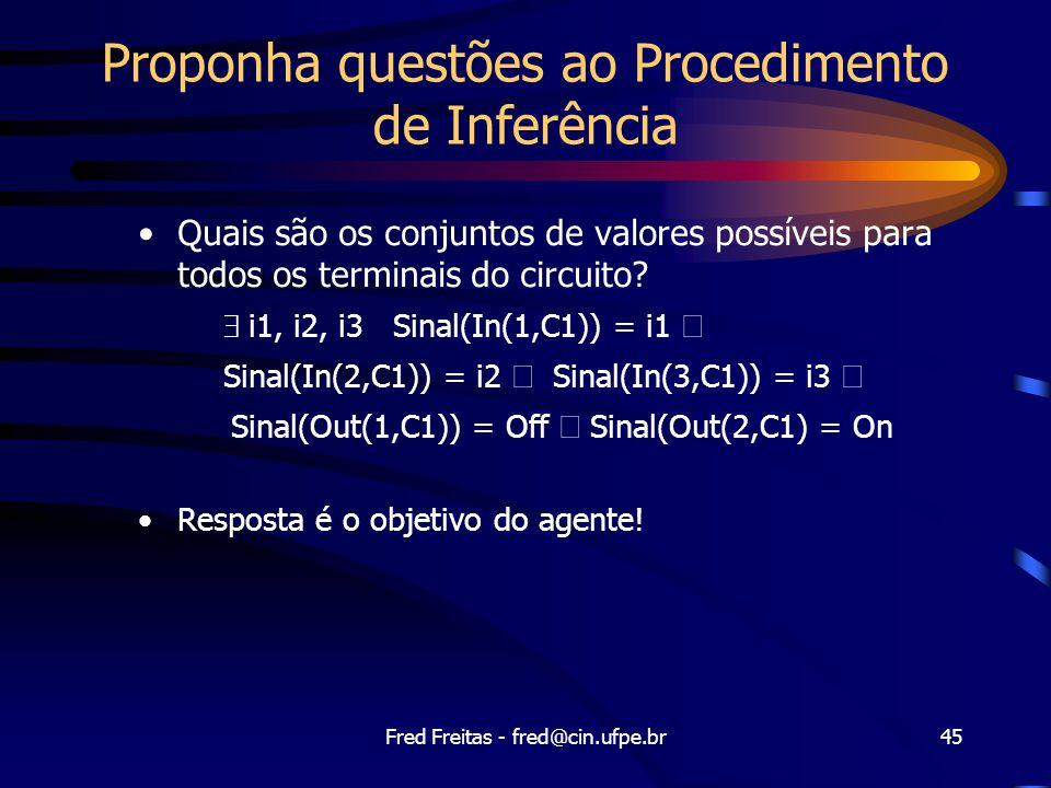 Fred Freitas - fred@cin.ufpe.br45 Proponha questões ao Procedimento de Inferência Quais são os conjuntos de valores possíveis para todos os terminais do circuito.