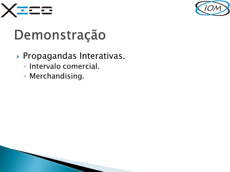  Propagandas Interativas. ◦ Intervalo comercial. ◦ Merchandising.