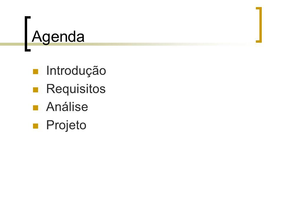 Agenda Introdução Requisitos Análise Projeto