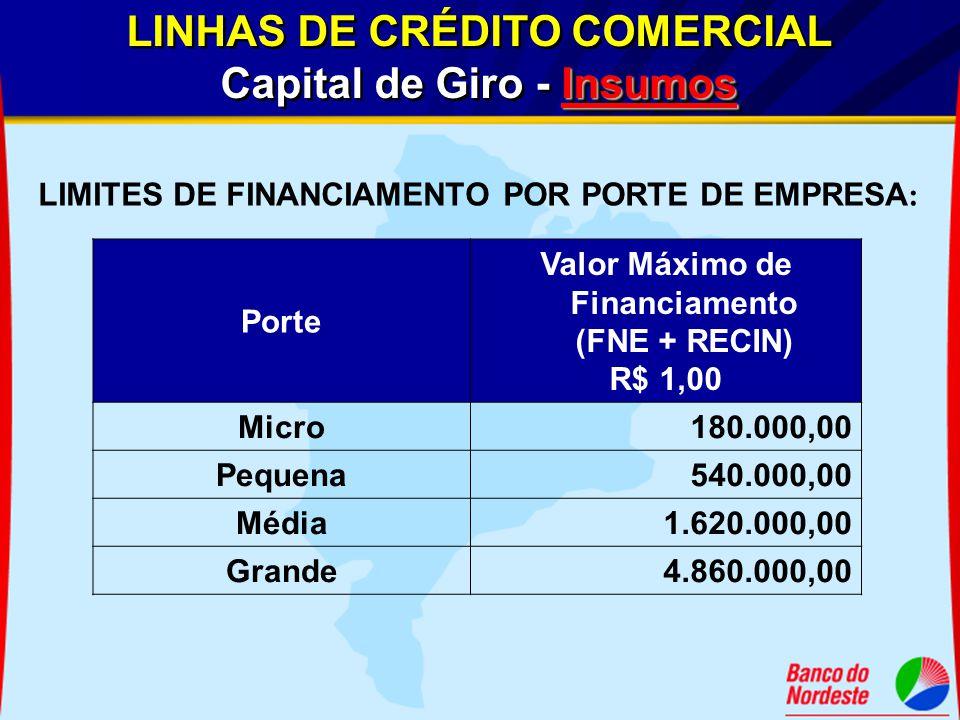 Porte Valor Máximo de Financiamento (FNE + RECIN) R$ 1,00 Micro180.000,00 Pequena540.000,00 Média1.620.000,00 Grande4.860.000,00 LIMITES DE FINANCIAME