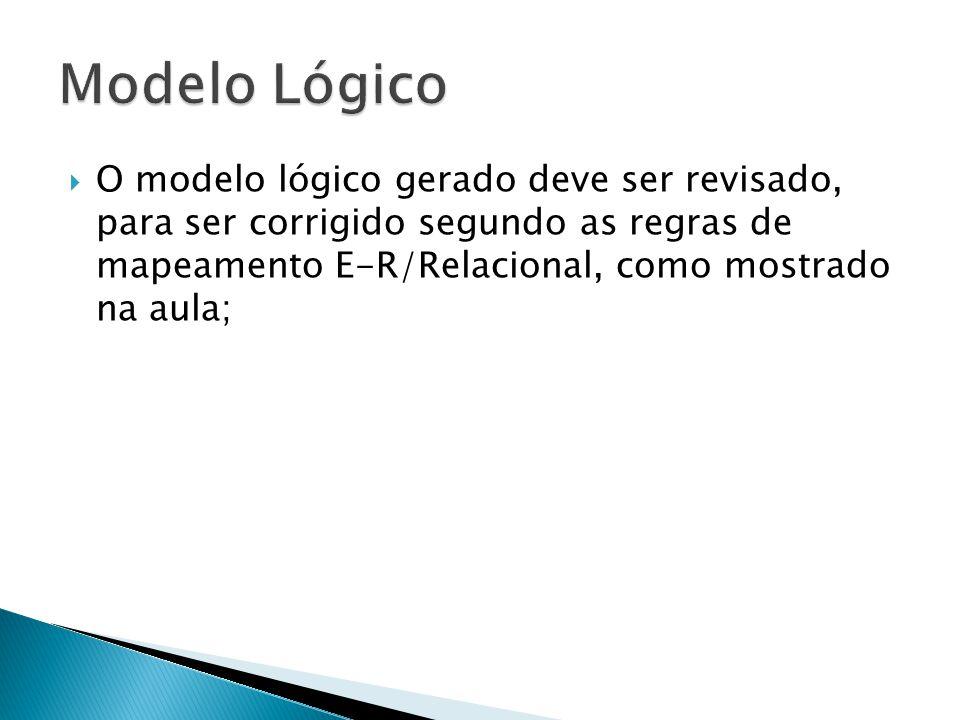  O modelo lógico gerado deve ser revisado, para ser corrigido segundo as regras de mapeamento E-R/Relacional, como mostrado na aula;