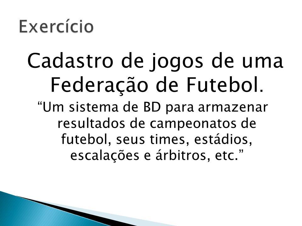 """Cadastro de jogos de uma Federação de Futebol. """"Um sistema de BD para armazenar resultados de campeonatos de futebol, seus times, estádios, escalações"""