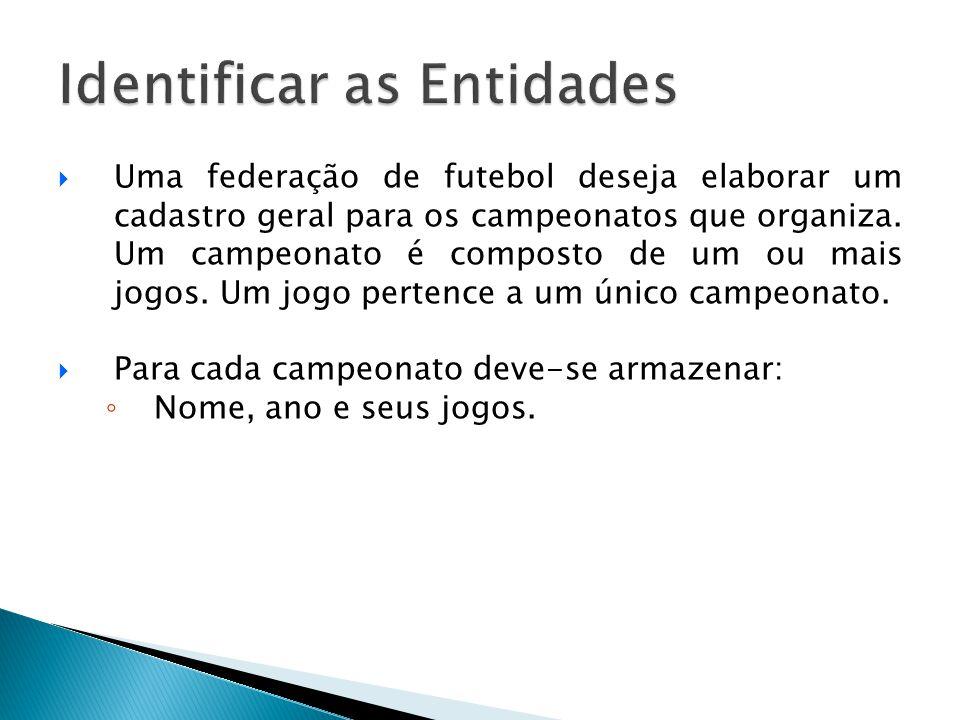  Uma federação de futebol deseja elaborar um cadastro geral para os campeonatos que organiza. Um campeonato é composto de um ou mais jogos. Um jogo p