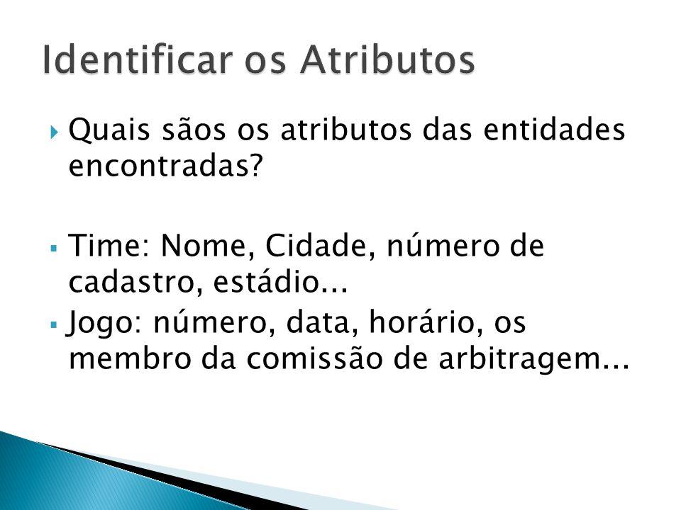  Quais sãos os atributos das entidades encontradas?  Time: Nome, Cidade, número de cadastro, estádio...  Jogo: número, data, horário, os membro da