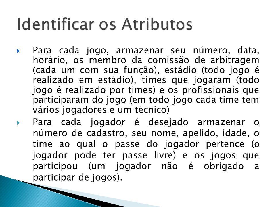  Para cada jogo, armazenar seu número, data, horário, os membro da comissão de arbitragem (cada um com sua função), estádio (todo jogo é realizado em
