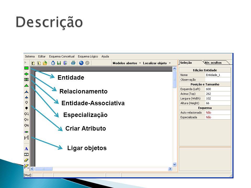 Entidade Relacionamento Entidade-Associativa Especialização Criar Atributo Ligar objetos