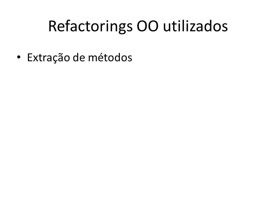 Refactorings OO utilizados Extração de métodos