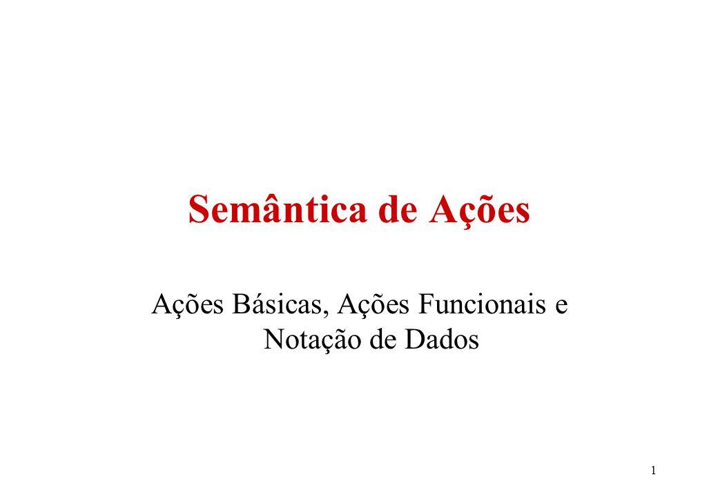 1 Semântica de Ações Ações Básicas, Ações Funcionais e Notação de Dados
