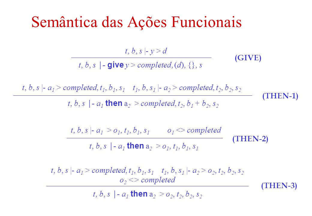 12 Exemplos de Ações Funcionais give 5 give sum(3,4) choose a natural (check true and then give 1) or (check not true and then give 0)