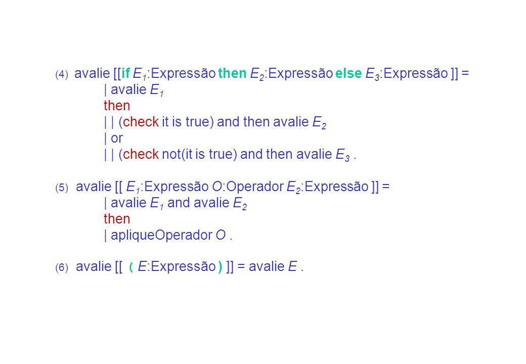 /NanoSpecimen/Semantic Functions/Expressões introduces: avalie _. avalie _ :: Expressão -> action. (1) avalie N:Numeral-Inteiro = give the valor-de N.