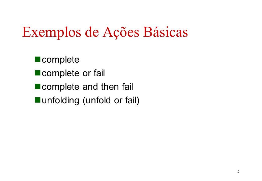 4 Ações Básicas (cont.) combinadores de ações unfolding _ :: action -> action. _ or _ :: action, action -> action. _ and _ :: action, action -> action